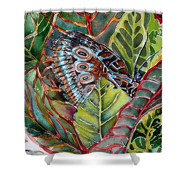 His Monarch In Green And Red Shower Curtain