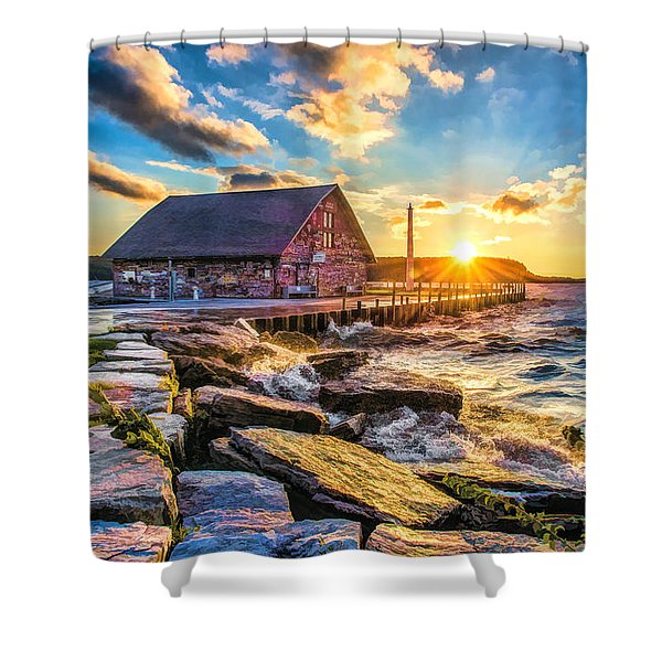 Historic Anderson Dock In Ephraim Door County Shower Curtain