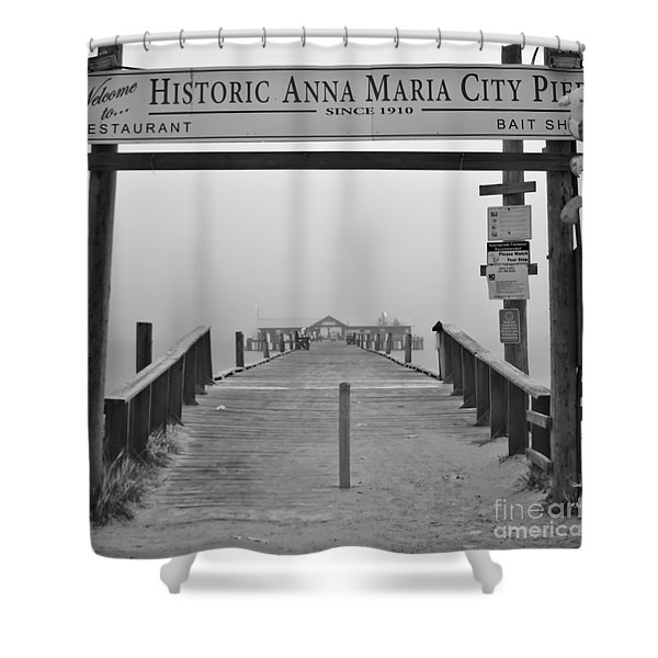 Historic Anna Maria City Pier In Fog Infrared 52 Shower Curtain