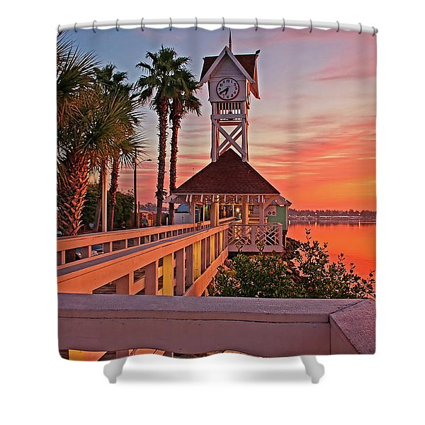 Historic Bridge Street Pier Sunrise Shower Curtain