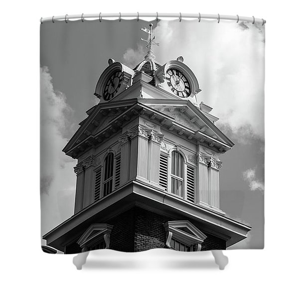 Historic Courthouse Steeple In Bw Shower Curtain
