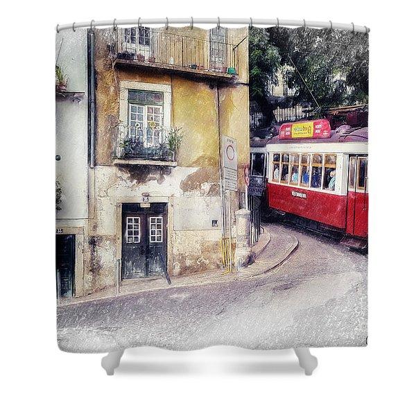 Historic Lisbon Tram Shower Curtain