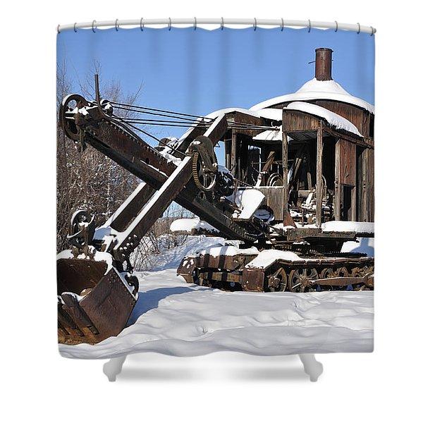 Historic Mining Steam Shovel During Alaska Winter Shower Curtain