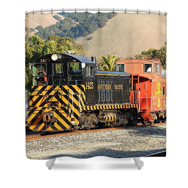 Historic Niles Trains In California . Old Southern Pacific Locomotive And Sante Fe Caboose . 7d10821 Shower Curtain by Wingsdomain Art and Photography