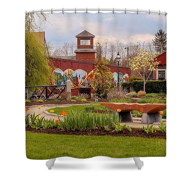 Shower Curtain featuring the photograph Historic Rail Station, Manhan Rail Trail Easthampton by Sven Kielhorn