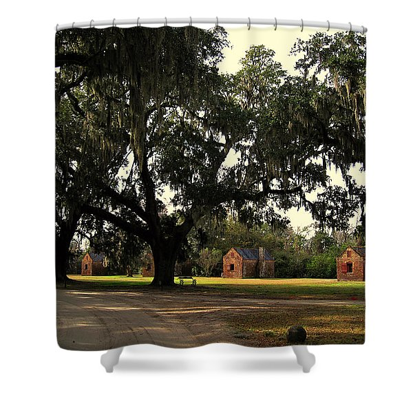 Historic Slave Houses At Boone Hall Plantation In Sc Shower Curtain