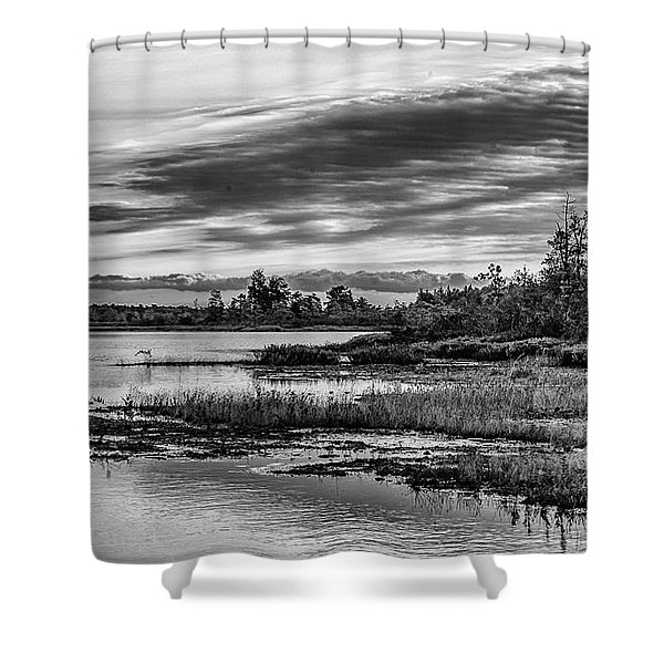 Historic Whitebog Landscape Black - White Shower Curtain