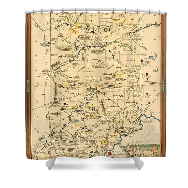 Historical Illustrated Map Of Indiana - Cartography - Vintage Map Shower Curtain