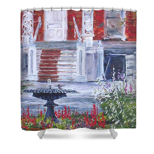 Shower Curtain featuring the painting Historical Society Garden by Jan Byington
