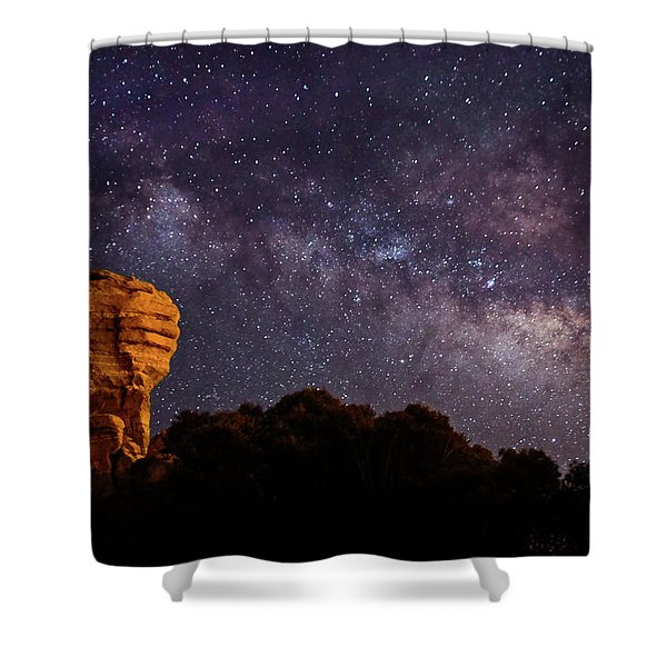 Hitchcock Pinnacle Nightscape -- Milky Way Shower Curtain