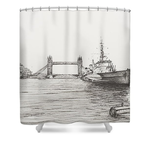 Hms Belfast On The River Thames Shower Curtain
