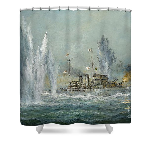 Hms Exeter Engaging In The Graf Spree At The Battle Of The River Plate Shower Curtain