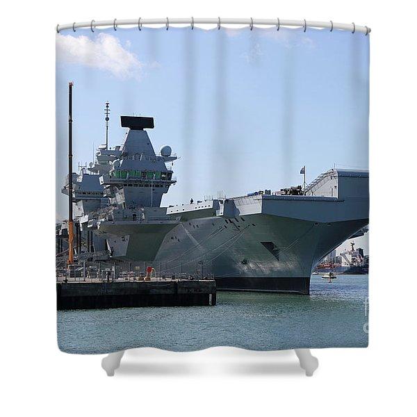 Hms Queen Elizabeth Aircraft Carrier At Portmouth Harbour Shower Curtain