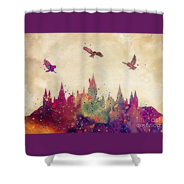 Hogwarts Castle Watercolor Art Print Shower Curtain
