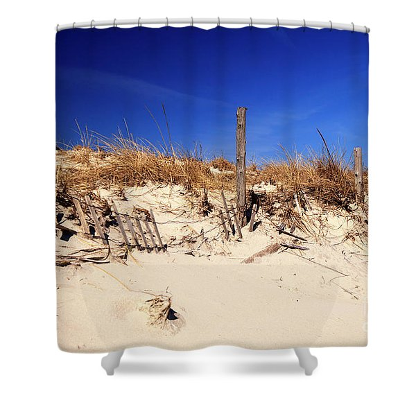 Holgate Beach Dune On Long Beach Island Shower Curtain by John Rizzuto