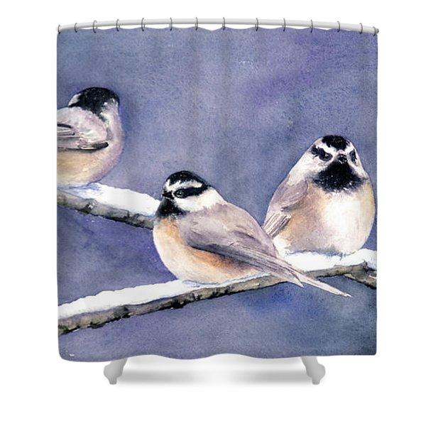 Holiday Chickadees Shower Curtain