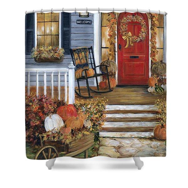Pumpkin Porch Shower Curtain
