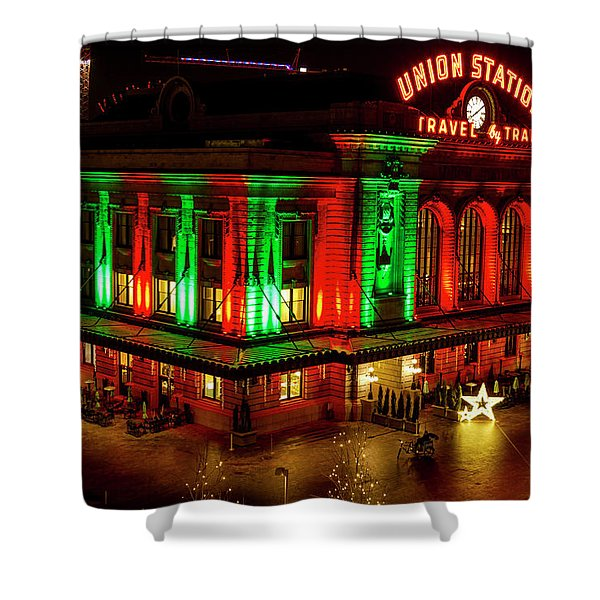 Holiday Lights At Union Station Denver Shower Curtain