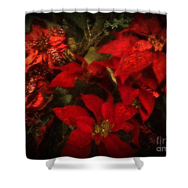 Holiday Painted Poinsettias Shower Curtain