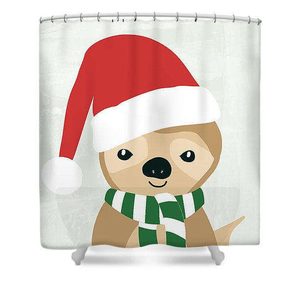 Holiday Sloth- Design By Linda Woods Shower Curtain