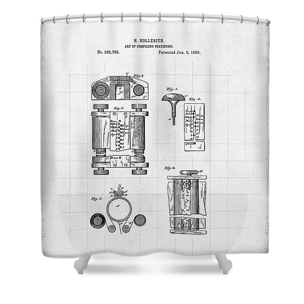 Hollerith Tabulating Machine Patent - First Computer 1889 Shower Curtain