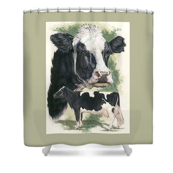 Shower Curtain featuring the mixed media Holstein by Barbara Keith