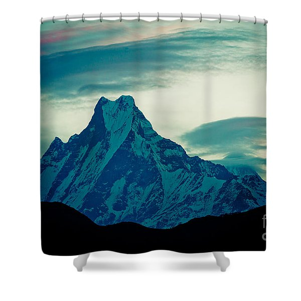 Shower Curtain featuring the photograph Holy Mount Fish Tail Machhapuchare 6998m by Raimond Klavins