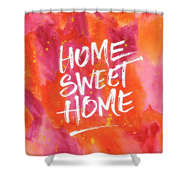 Home Sweet Home Handpainted Abstract Orange Pink Watercolor Shower Curtain