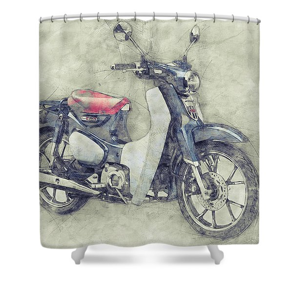 Honda Super Cub 1 - Motor Scooters - 1958 - Motorcycle Poster - Automotive Art Shower Curtain