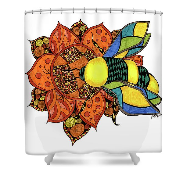 Honeybee On A Flower Shower Curtain
