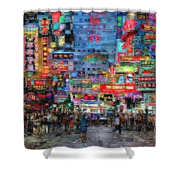 Hong Kong City Nightlife Shower Curtain