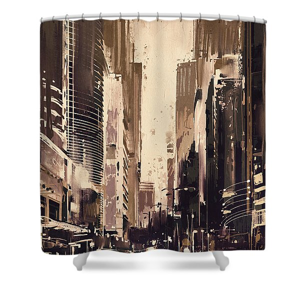 Shower Curtain featuring the painting Hong-kong Cityscape Painting by Tithi Luadthong