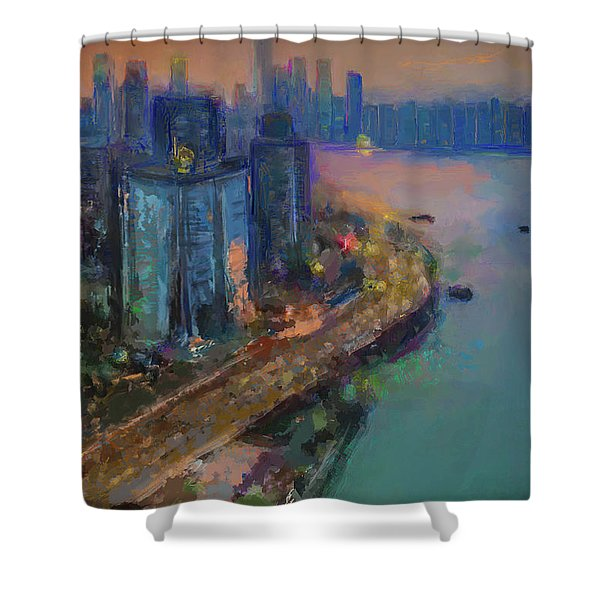 Hong Kong Skyline Painting Shower Curtain