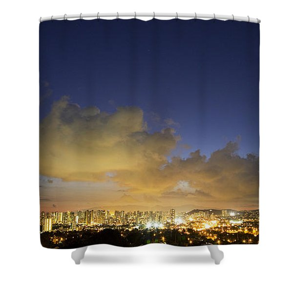Honolulu Night Skyline Shower Curtain
