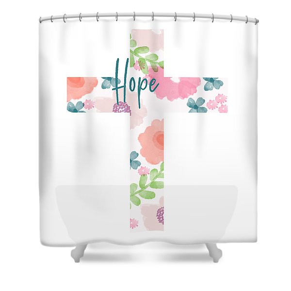 Hope Floral Cross- Art By Linda Woods Shower Curtain