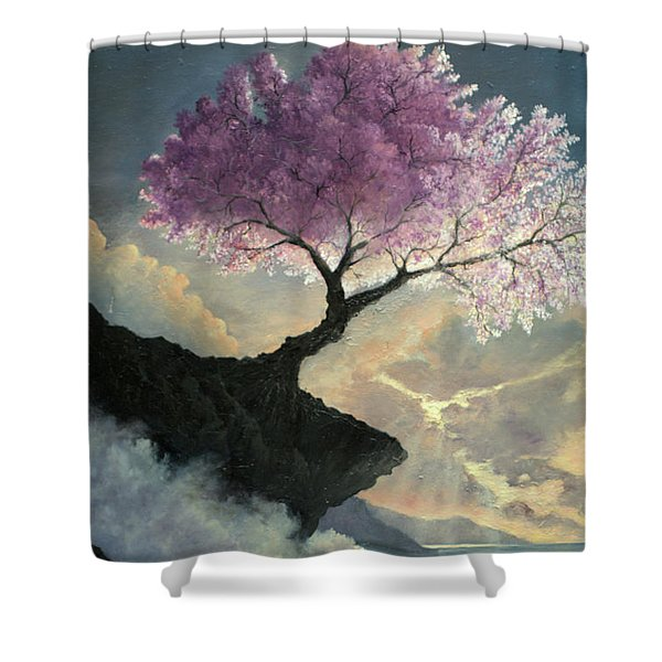 Shower Curtain featuring the painting Hope Inclines by Rosario Piazza