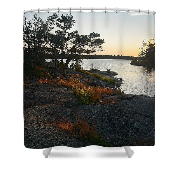 Hopewell Bay Island Rock Grass Shower Curtain