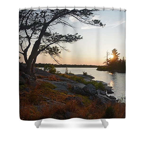 Hopewell Bay Island Wild Grass Sunset-1 Shower Curtain