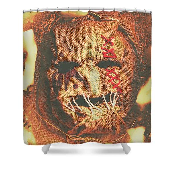 Horror Scarecrow Portrait Shower Curtain