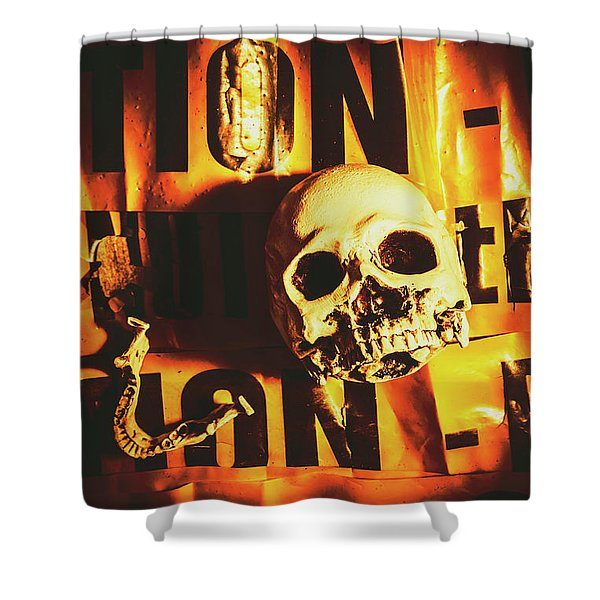 Horror Skulls And Warning Tape Shower Curtain