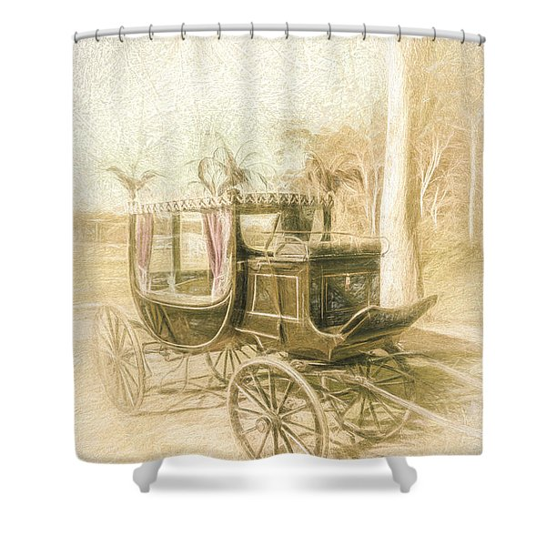 Horse Drawn Funeral Cart  Shower Curtain