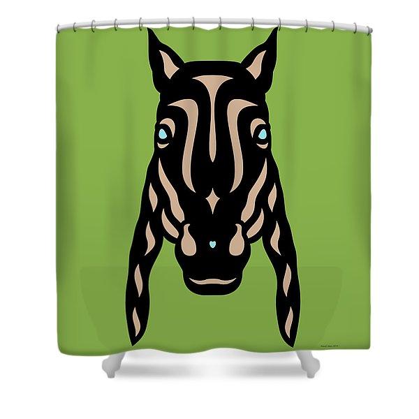 Horse Face Rick - Horse Pop Art - Greenery, Hazelnut, Island Paradise Blue Shower Curtain