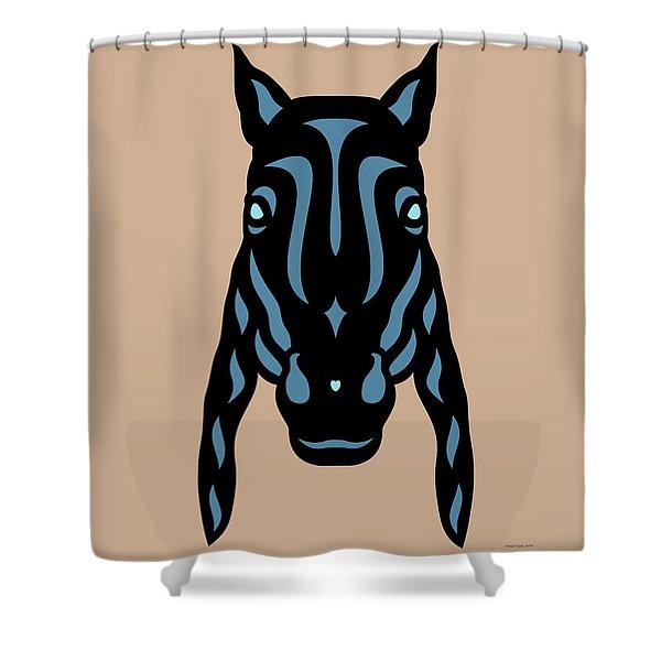 Horse Face Rick - Horse Pop Art - Hazelnut, Niagara Blue, Island Paradise Blue Shower Curtain