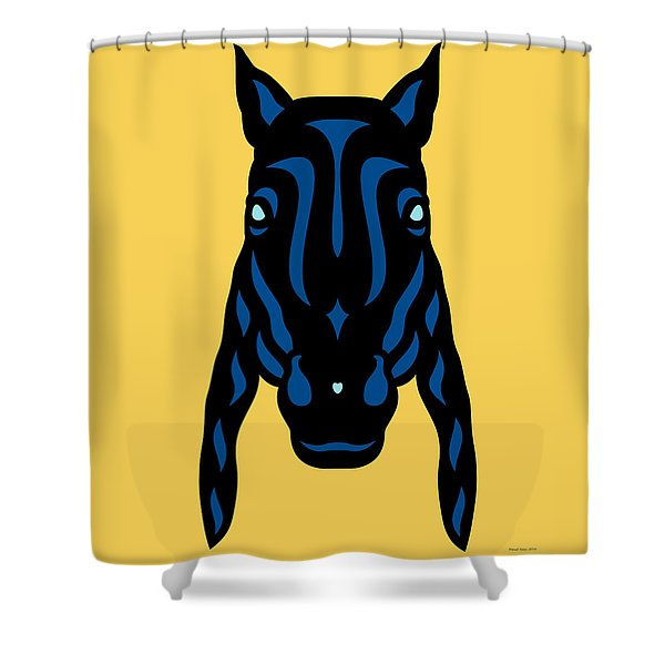 Horse Face Rick - Horse Pop Art - Primrose Yellow, Lapis Blue, Island Paradise Blue Shower Curtain