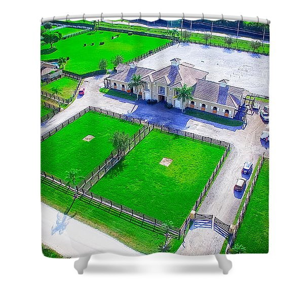 Shower Curtain featuring the photograph Horse Farm Aerial by Jody Lane