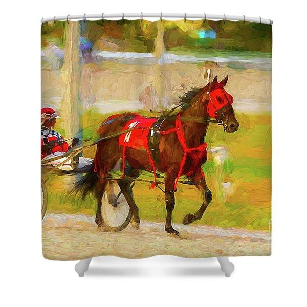 Horse, Harness And Jockey Shower Curtain