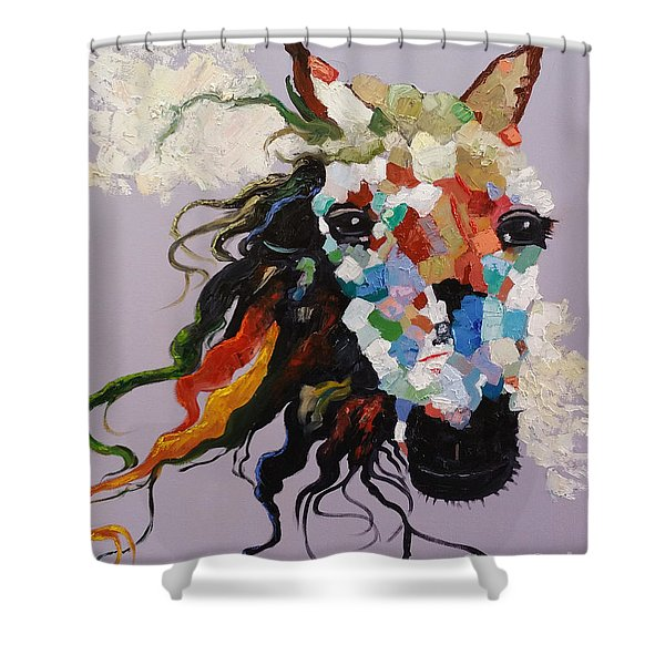 Puzzle Horse Head  Shower Curtain