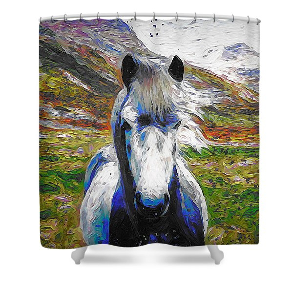 Horse, Oil Painting Shower Curtain