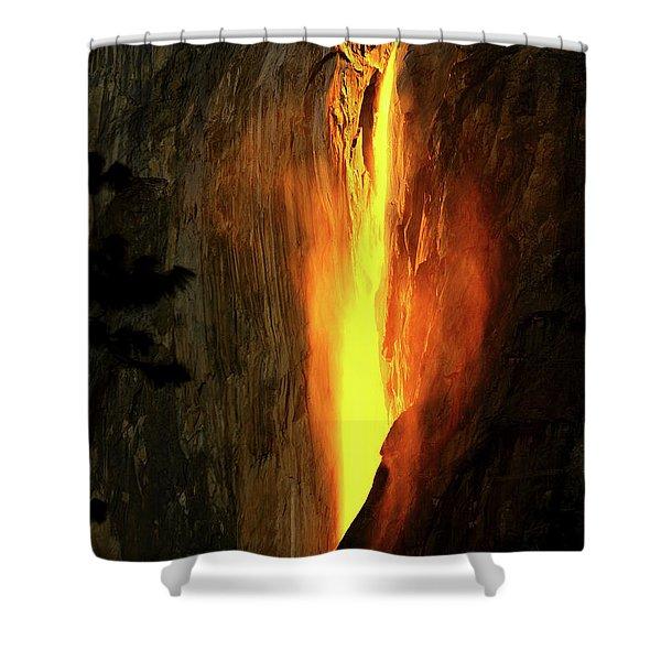 Horse Tail Fall Aglow Shower Curtain