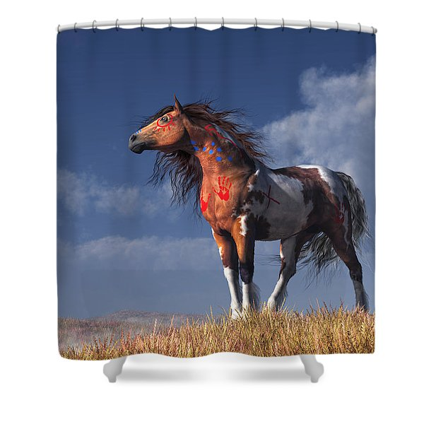 Horse With War Paint Shower Curtain